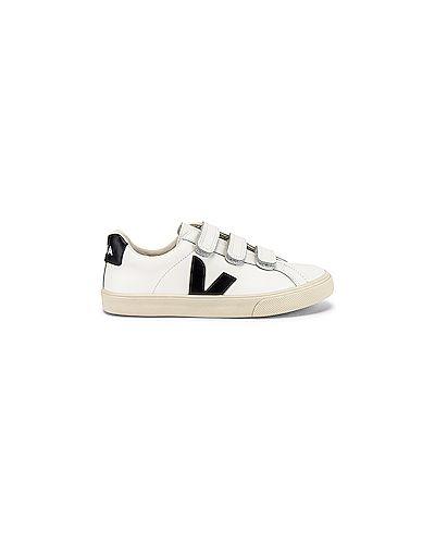 Хлопковые белые кожаные кроссовки на липучках с подкладкой Veja