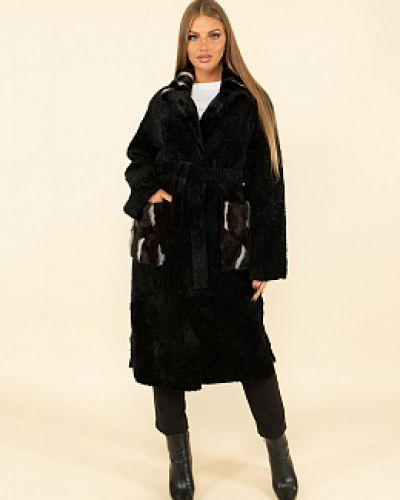 Пальто из овчины - черное каляев