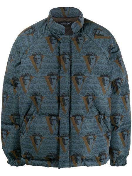Niebieski płaszcz z nylonu z długimi rękawami Undercover