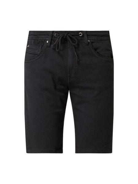 Bawełna niebieski dżinsowe szorty z kieszeniami z paskami Pepe Jeans