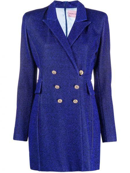 Синее нейлоновое платье мини двубортное Chiara Ferragni