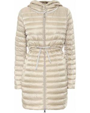 Пуховое бежевое стеганое пальто с декоративной отделкой с капюшоном Moncler