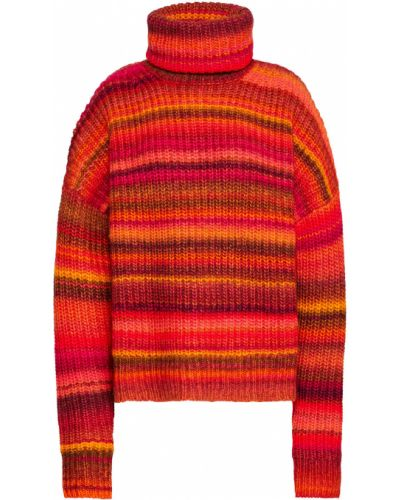 Pomarańczowy sweter wełniany w paski Altuzarra
