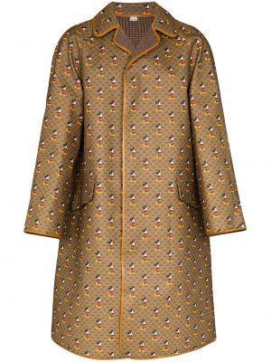 Brązowy płaszcz wełniany z długimi rękawami Gucci