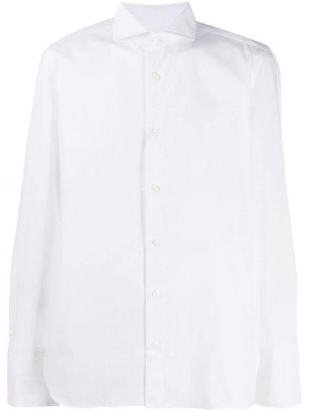 С рукавами белая рубашка с воротником на пуговицах Borrelli