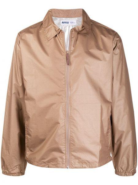 Beżowa długa kurtka z nylonu z długimi rękawami Affix