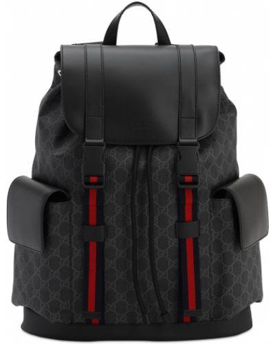 Czarny plecak skórzany klamry Gucci