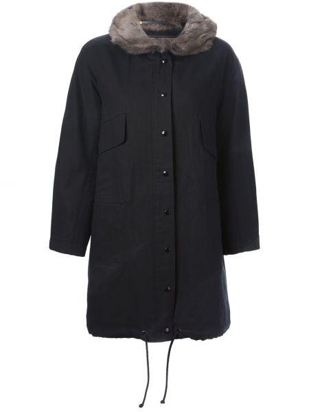 Хлопковая черная длинное пальто с капюшоном Liska