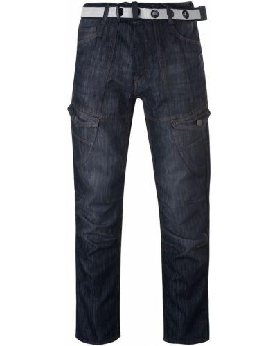 Czarne jeansy z paskiem z klamrą No Fear