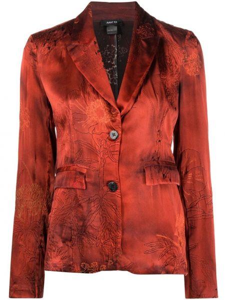 Шелковый красный удлиненный пиджак с карманами Avant Toi