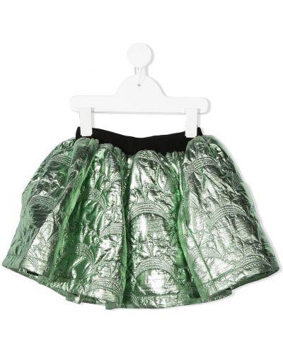 Ватная хлопковая расклешенная зеленая юбка Caroline Bosmans