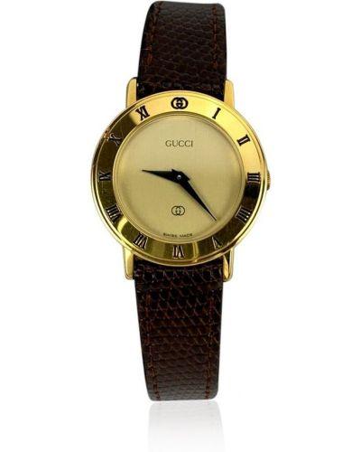 Żółty zegarek na skórzanym pasku srebrny Gucci Vintage