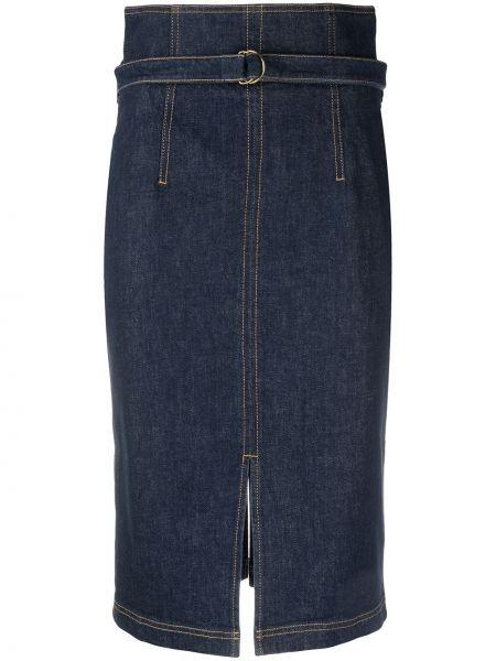 Синяя с завышенной талией юбка миди с разрезом Philosophy Di Lorenzo Serafini