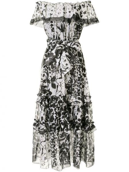 Хлопковое черное платье макси с открытыми плечами Marchesa