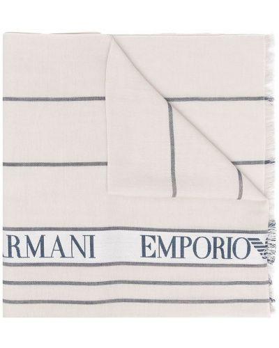 Czarny szalik bawełniany z paskiem Emporio Armani