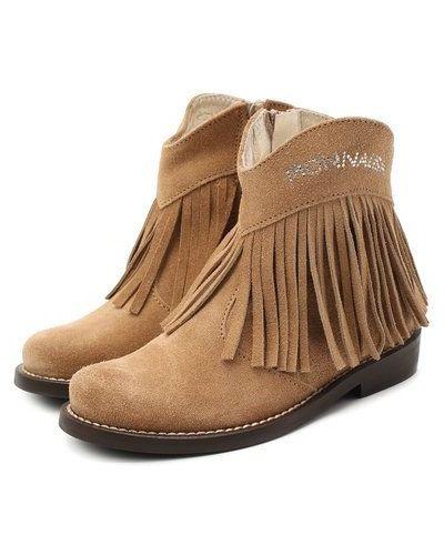 Замшевые коричневые ботинки на каблуке Monnalisa