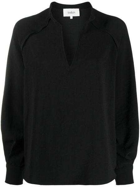 Черная блузка с V-образным вырезом с манжетами на пуговицах Ba&sh