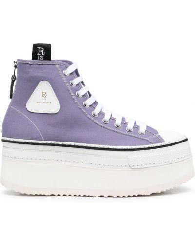 Ботильоны на шнуровке - фиолетовые R13