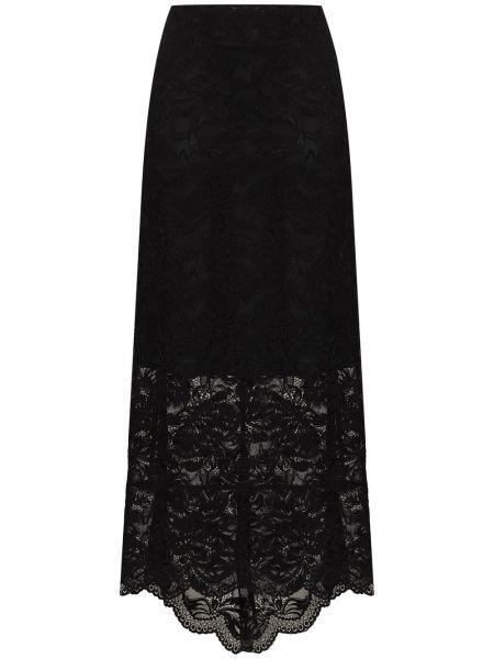 Czarny ażurowy spódnica midi na sznurowadłach Paco Rabanne