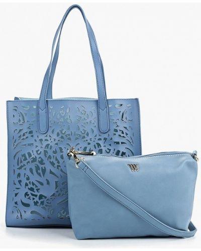Кожаный сумка шоппер голубой Vera Victoria Vito