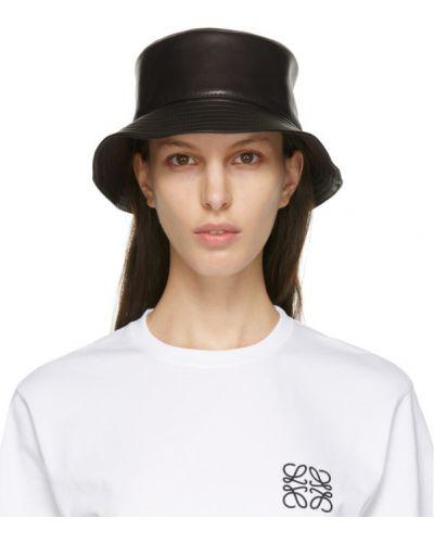 Кожаная черная шапка с подкладкой Loewe