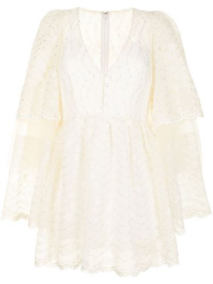 Шелковое кружевное белое платье мини Alice Mccall