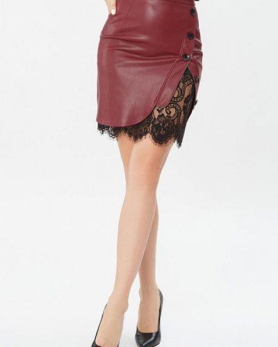 Кожаная юбка красный бордовый Gepur