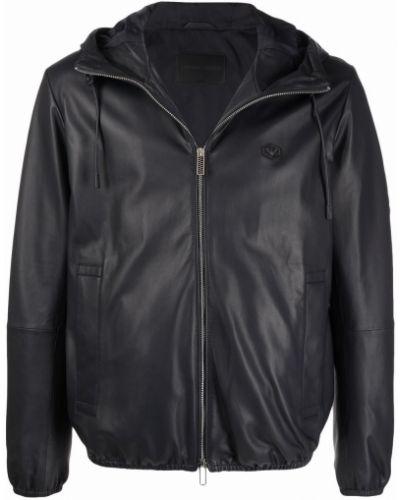 Кожаная куртка с капюшоном - синяя Emporio Armani