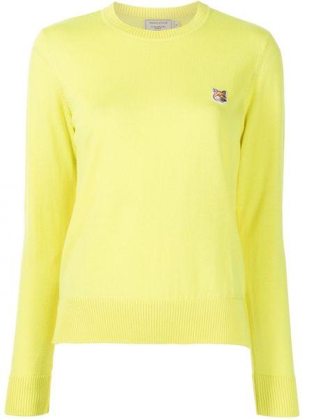 Желтый пуловер с вырезом круглый Maison Kitsuné