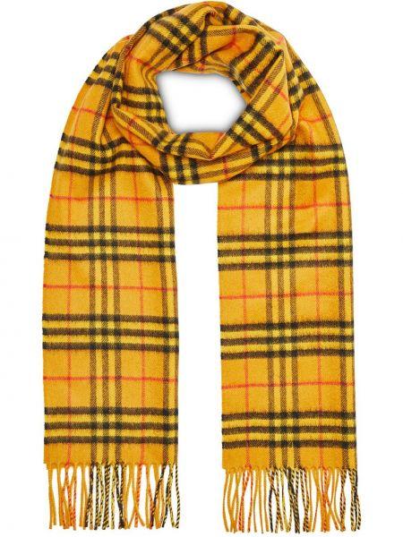 Желтый кашемировый шарф в клетку Burberry