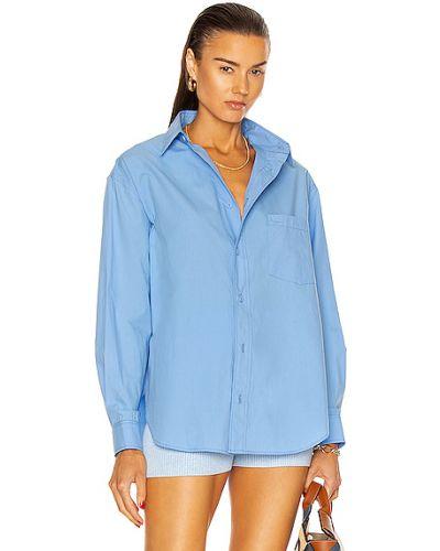 Хлопковая синяя рубашка с карманами Matteau