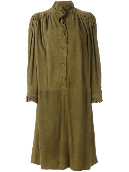 С заниженной талией платье миди винтажное с оборками на пуговицах Emanuel Ungaro Pre-owned