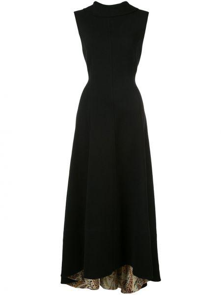 Шерстяное черное платье миди без рукавов Oscar De La Renta