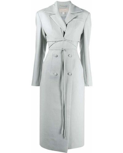 Серое шерстяное длинное пальто двубортное Matériel