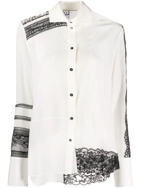 Шелковая с рукавами белая рубашка Ermanno Scervino