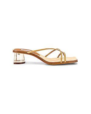 Коричневые кожаные сандалии на каблуке квадратные Miista