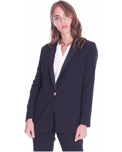 Czarna kurtka jeansowa elegancka z długimi rękawami Trussardi Jeans
