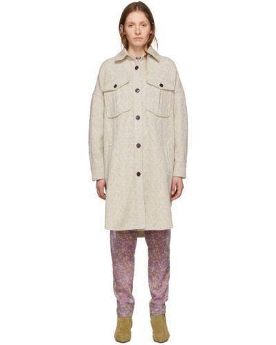 Белое шерстяное длинное пальто с воротником Isabel Marant Étoile