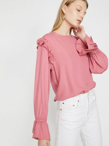 Розовая блузка с длинными рукавами Koton
