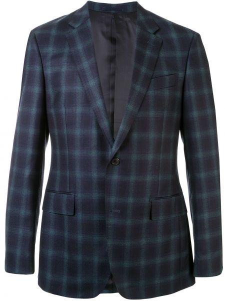 Niebieska kurtka wełniana z printem Kent & Curwen