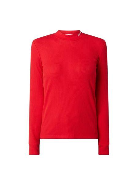 Bawełna bawełna bluzka z długim rękawem wąskie cięcie ze stójką Calvin Klein Jeans
