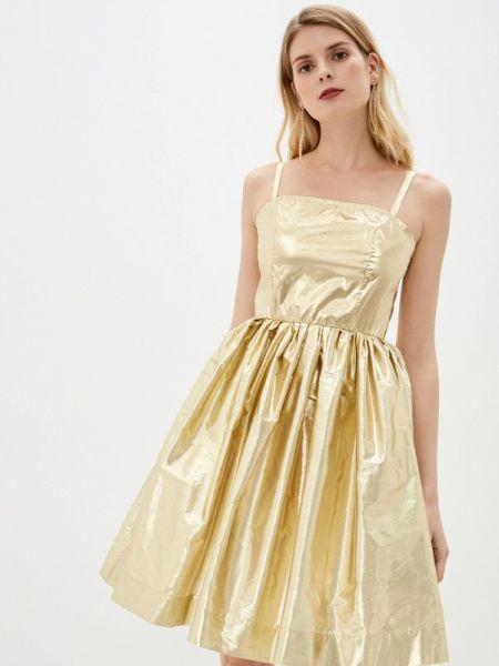 Вечернее платье весеннее золотой Sleza