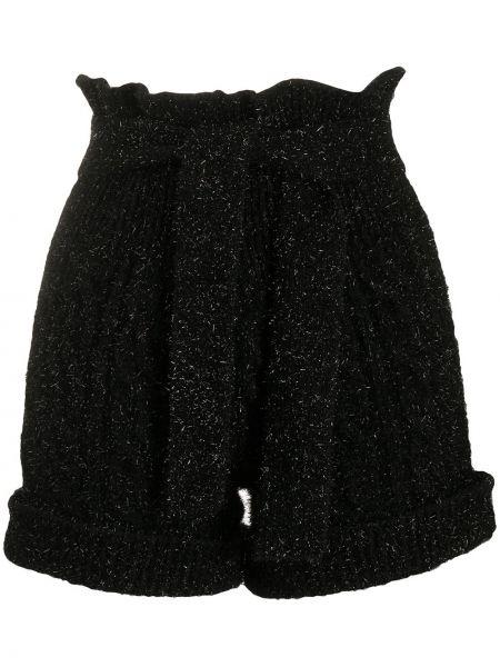 Черные с завышенной талией вязаные шорты Laneus