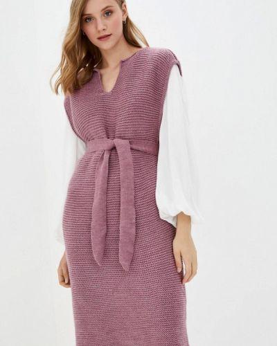 Вязаное розовое платье Прованс