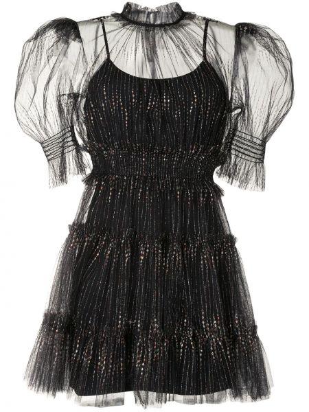 Черное прямое платье мини с оборками с вырезом Alice Mccall