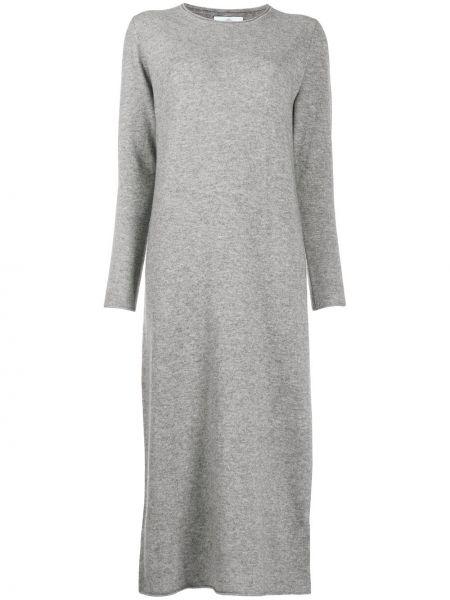 Шерстяное тонкое серое платье с вырезом Allude