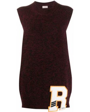 Красный вязаный свитер пэчворк с вышивкой Mrz