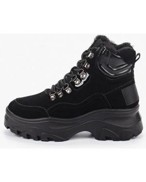 Высокие кроссовки замшевые черные Mallanee