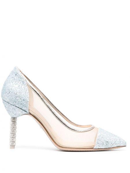 Кожаные синие туфли-лодочки на каблуке Sophia Webster
