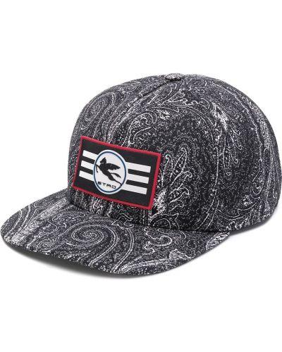 Bawełna bawełna czarny czapka z daszkiem z łatami Etro